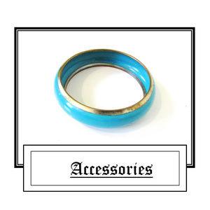 Blue Turquoise Gold Trim Bangle Bracelet